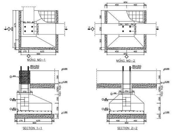 bản vẽ kỹ thuật kết cấu móng