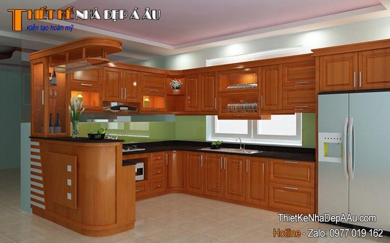 Quầy bar được thiết kế kích thước phù hợp với không gian bếp