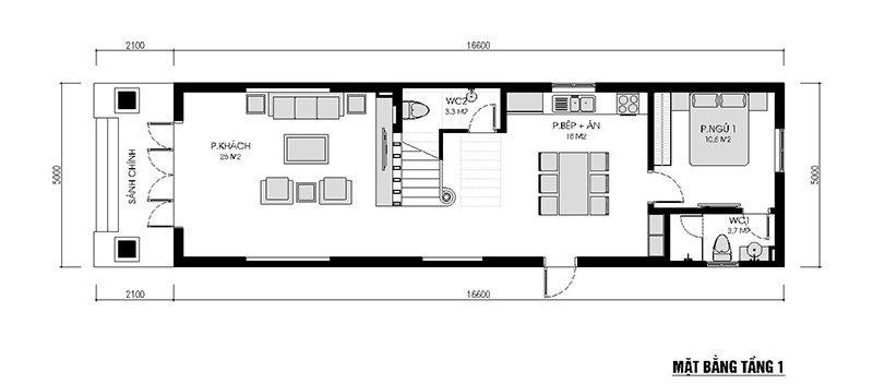 mặt bằng có kích thước phòng khách 28m2