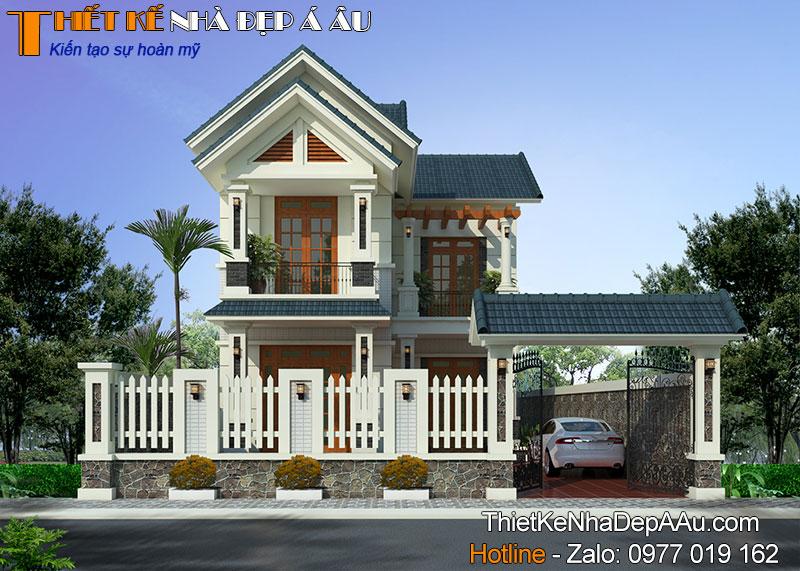 Mẫu nhà 2 tầng chữ L đẹp ở nông thôn