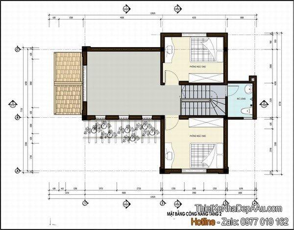 Măt bằng nhà 2 tầng
