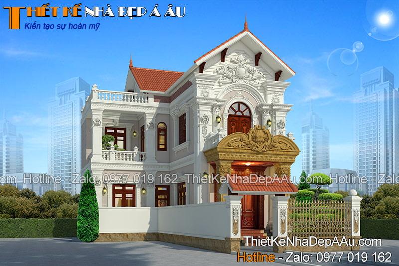 Thiết kế biệt thự chữ L kiến trúc tân cổ điển