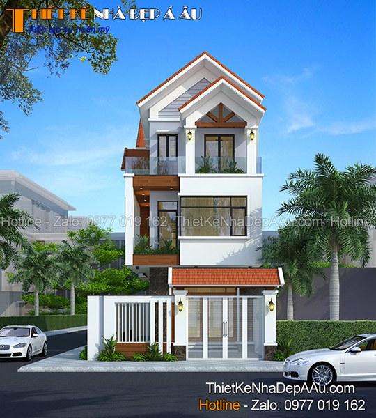 nhà mặt tiền 5m mái thái hiện đại