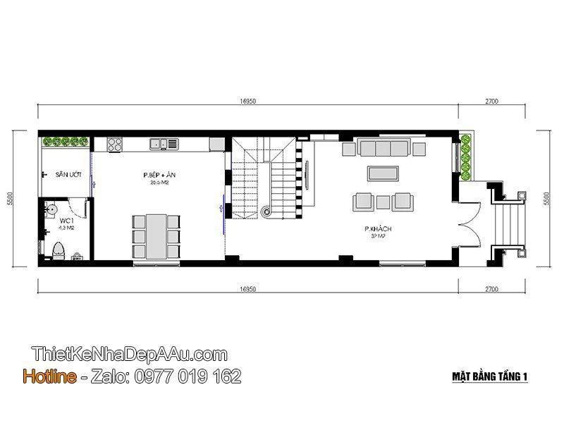 Chi tiết phương án bố trí mặt bằng nội thất nhà phố 3 tầng
