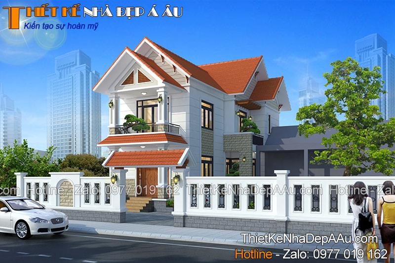 Mẫu nhà 2 tầng mái thái đẹp