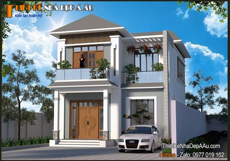 mẫu nhà 2 tầng đẹp mái thái