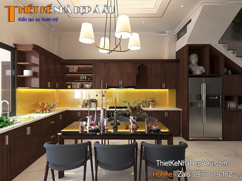 không gian nhà bếp nội thất gỗ tự nhiên