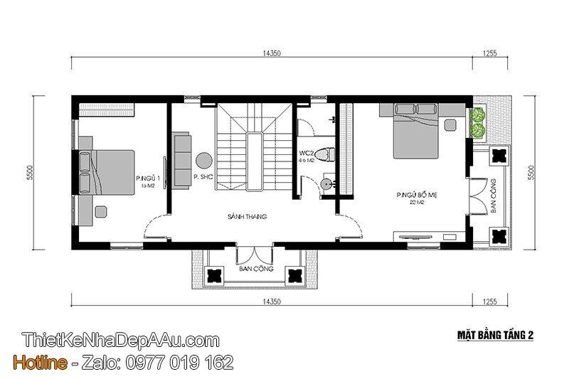Bản vẽ mặt bằng phân chia phòng công năng và bố trí nội thất nhà phố 3 tầng