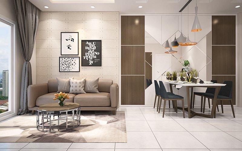 phòng khách căn hộ chung cư 22m2
