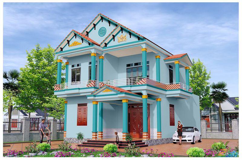 nhà sơn màu xanh