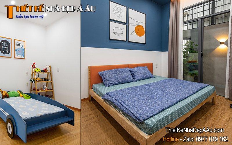 không gian phòng ngủ thoáng rộng, tiện nghi