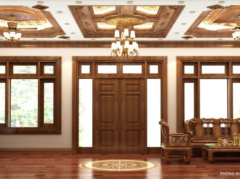 mẫu trần nhà gỗ tự nhiên trang trí phong cách Châu Âu