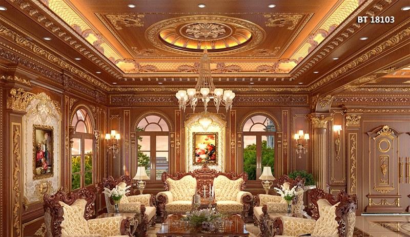 trang trí phòng khách gỗ tự nhiên sang trọng