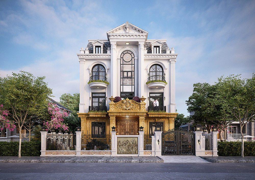 Biệt thự kiến trúc Pháp 3 tầng 180m2