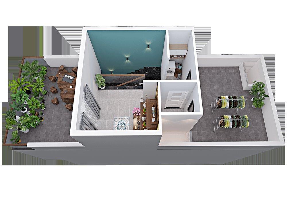 Bản vẽ 3D mặt bằng nhà phố hiện đại tầng 3
