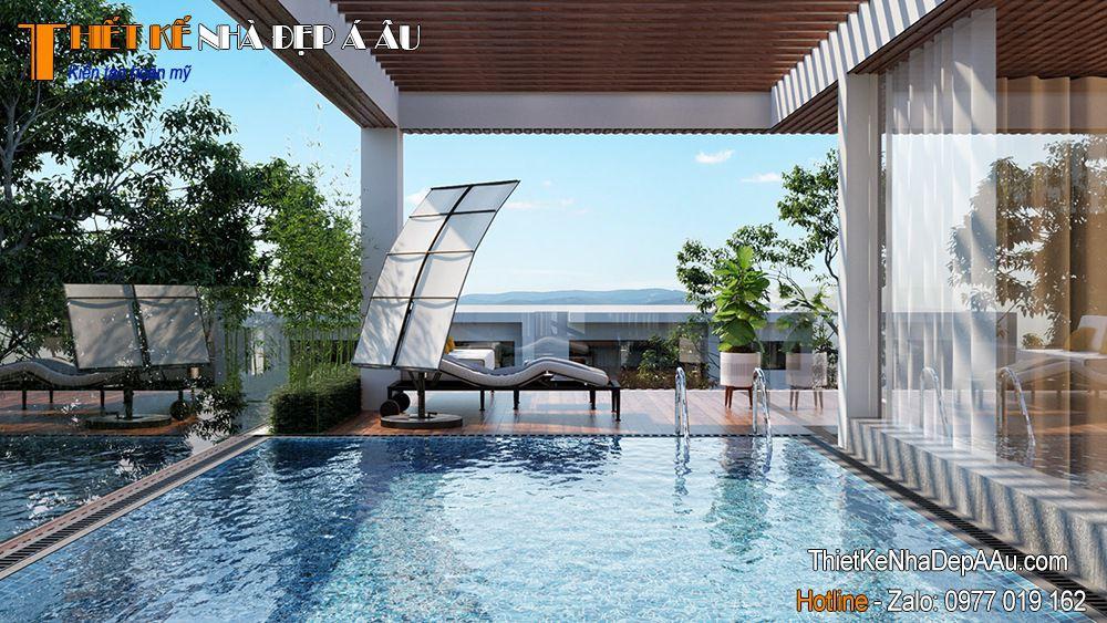 Bể bơi tầng được thiết kế ở tầng 3 căn biệt thự
