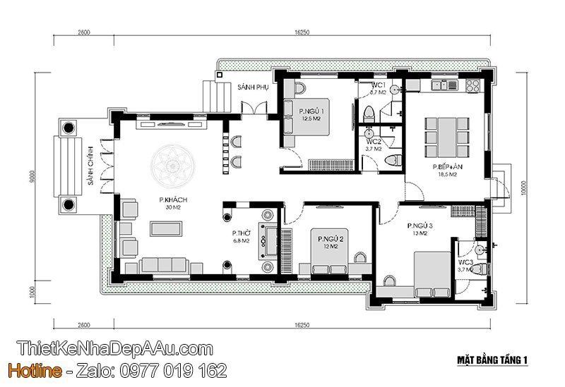 Mặt bằng nhà mái thái 3 phòng ngủ