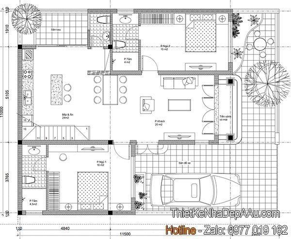 Bản vẽ mặt bằng nhà cấp 4 mái thái mặt tiền 10m