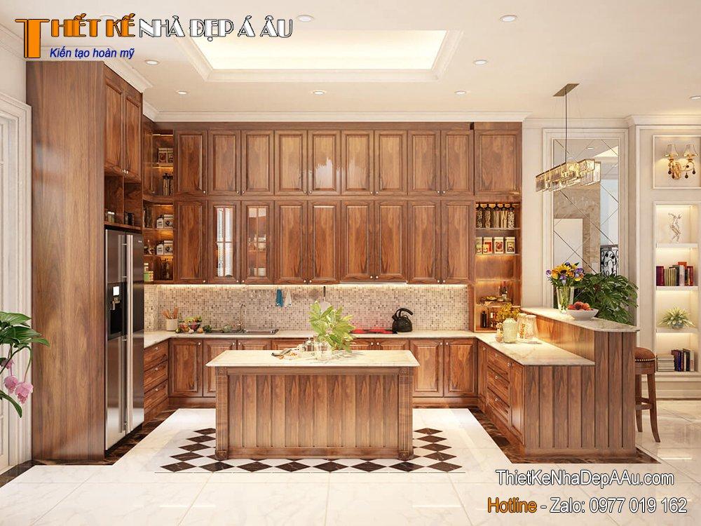 Phòng bếp bên trong căn biệt thự lộng lẫy