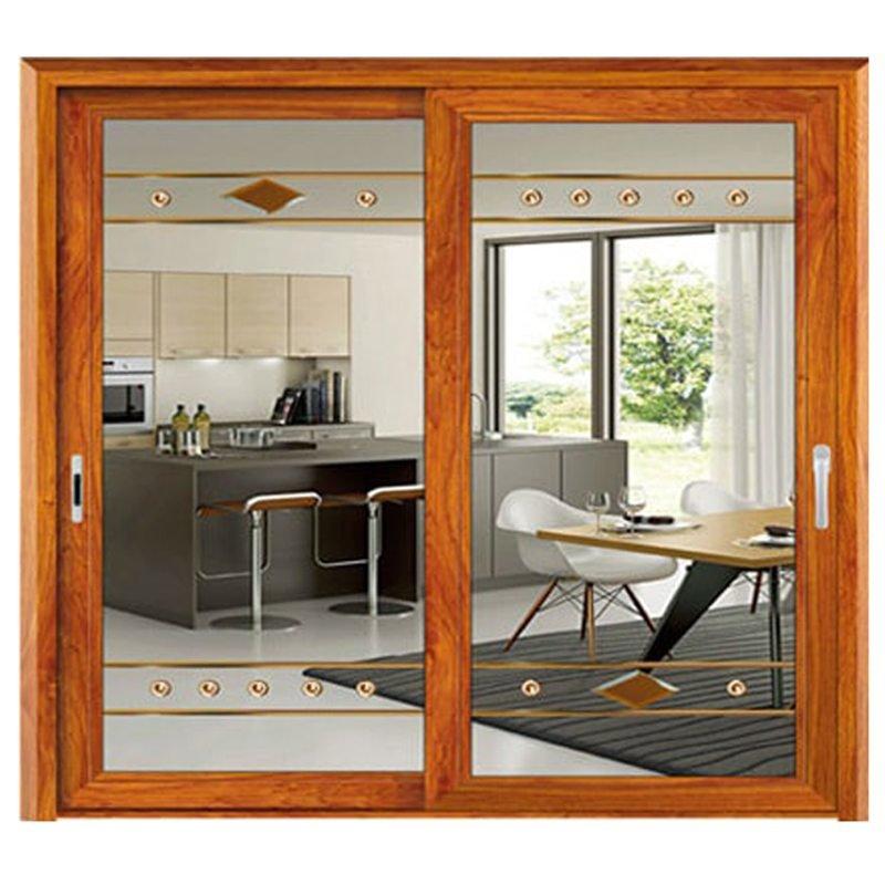 cửa trượt nhôm kính sơn giả gỗ