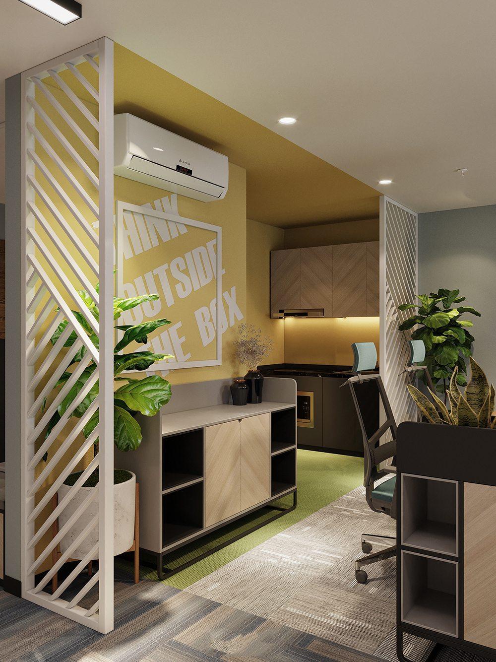 Trang trí văn phòng bằng lam gỗ