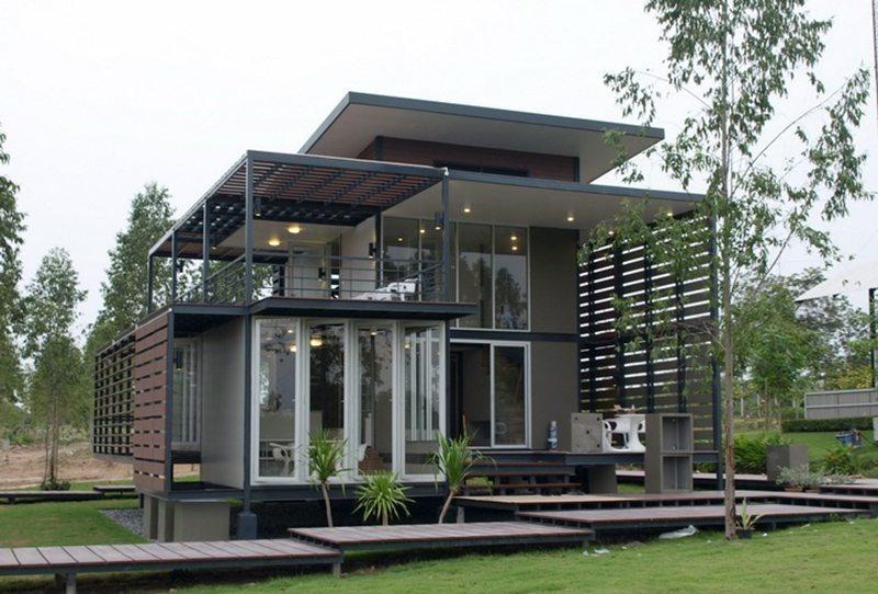 nhà 2 tầng khung thép