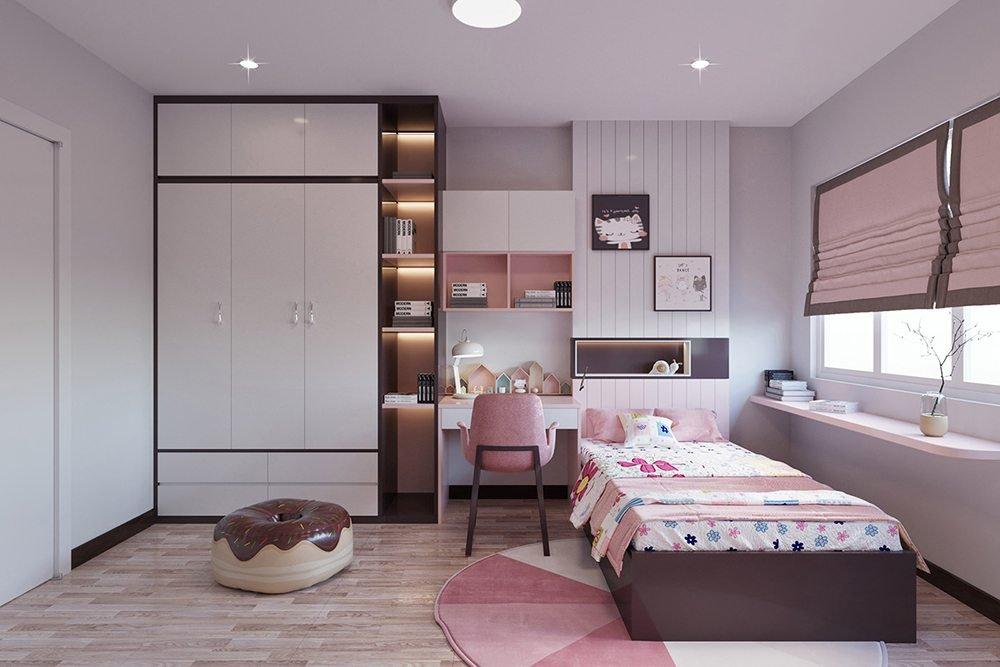 phòng ngủ màu hồng cho bé gái