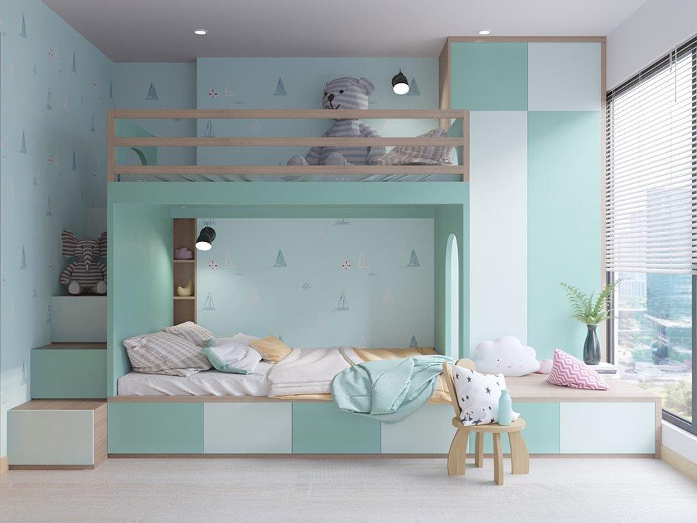 Phòng ngủ đôi với giường tầng xinh xắn