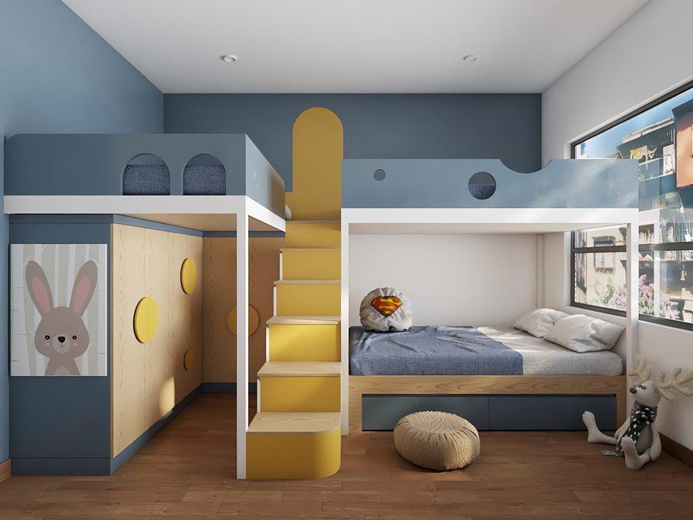 Trang trí nội thất phòng ngủ bé trai