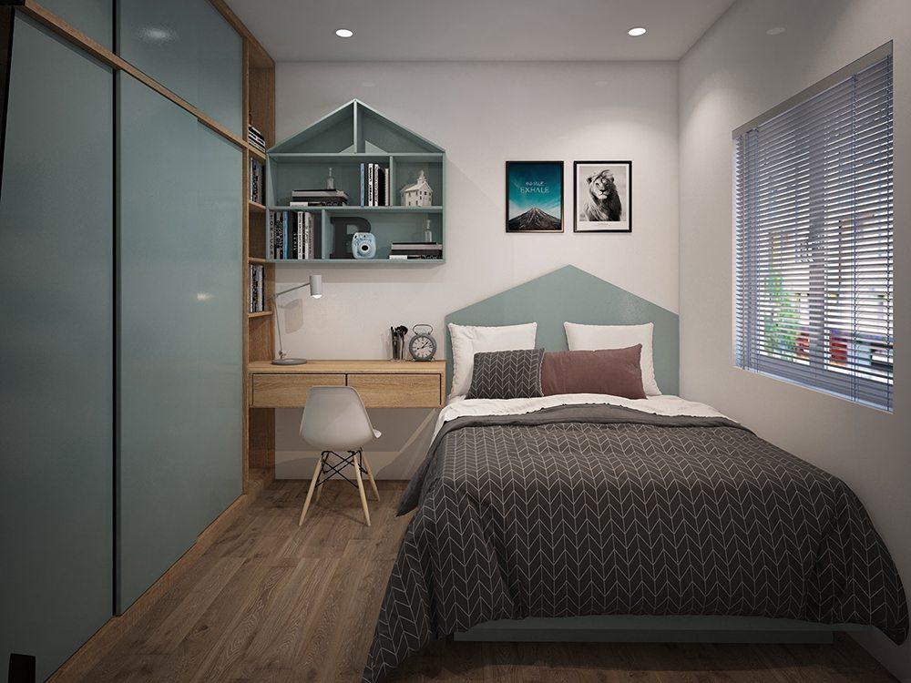 phòng ngủ kết hợp không gian học tập