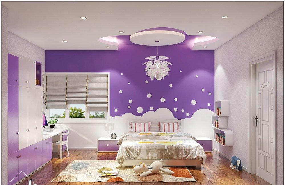 Phòng ngủ bé gái màu sắc mộng mơ