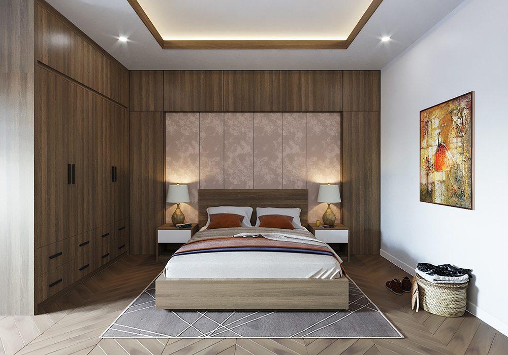 Giường ngủ tone màu ấm