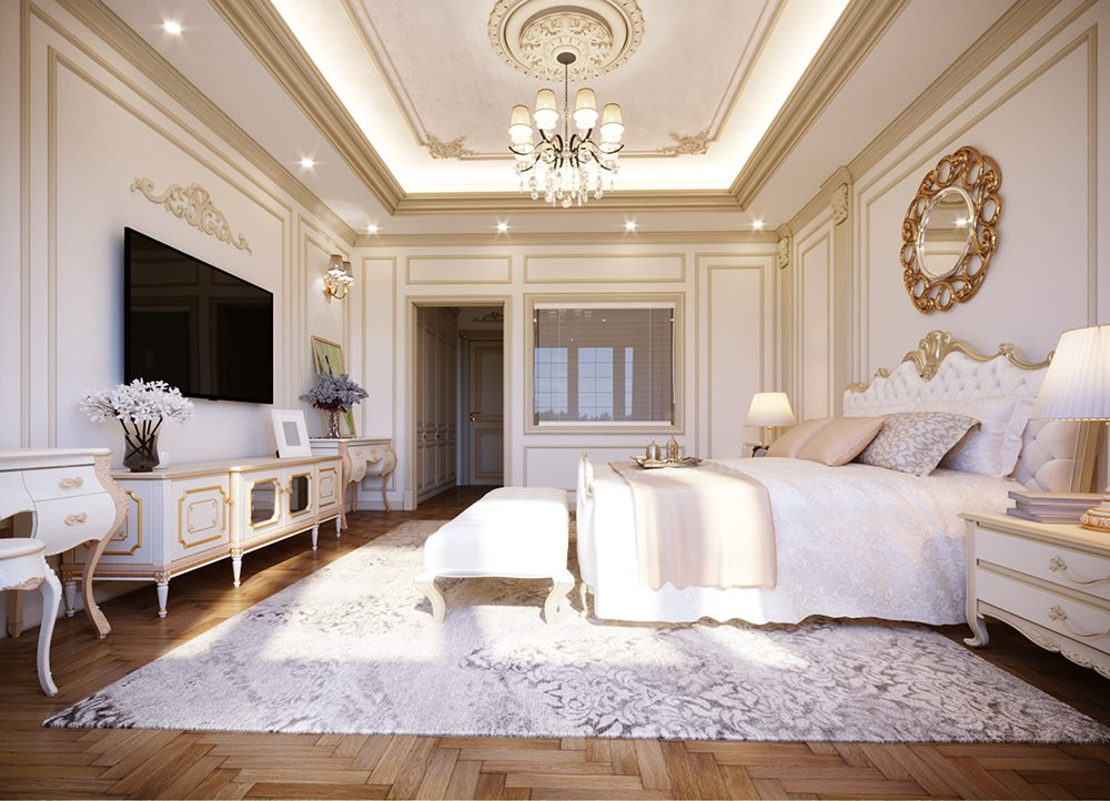 trang trí phòng ngủ phong cách tân cổ điển