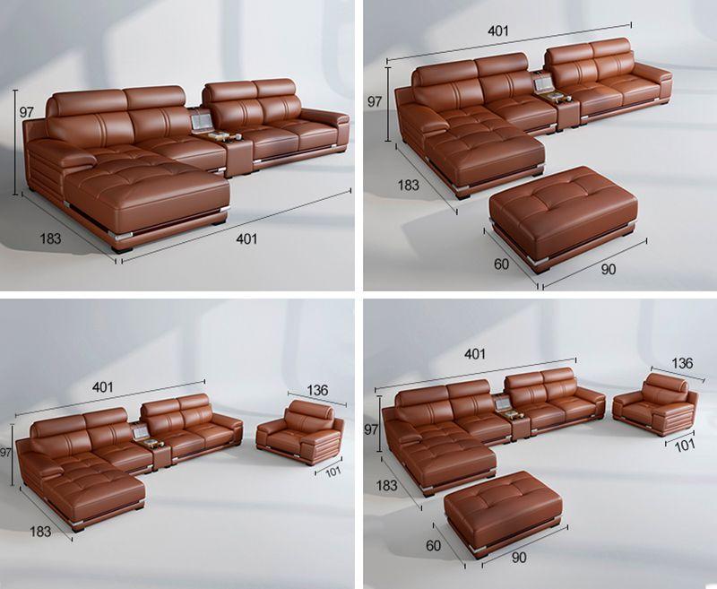 kích thước thông dụng của sofa da