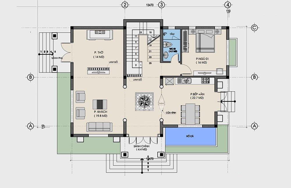 Bản vẽ mặt bằng biệt thự 2 tầng 90m2