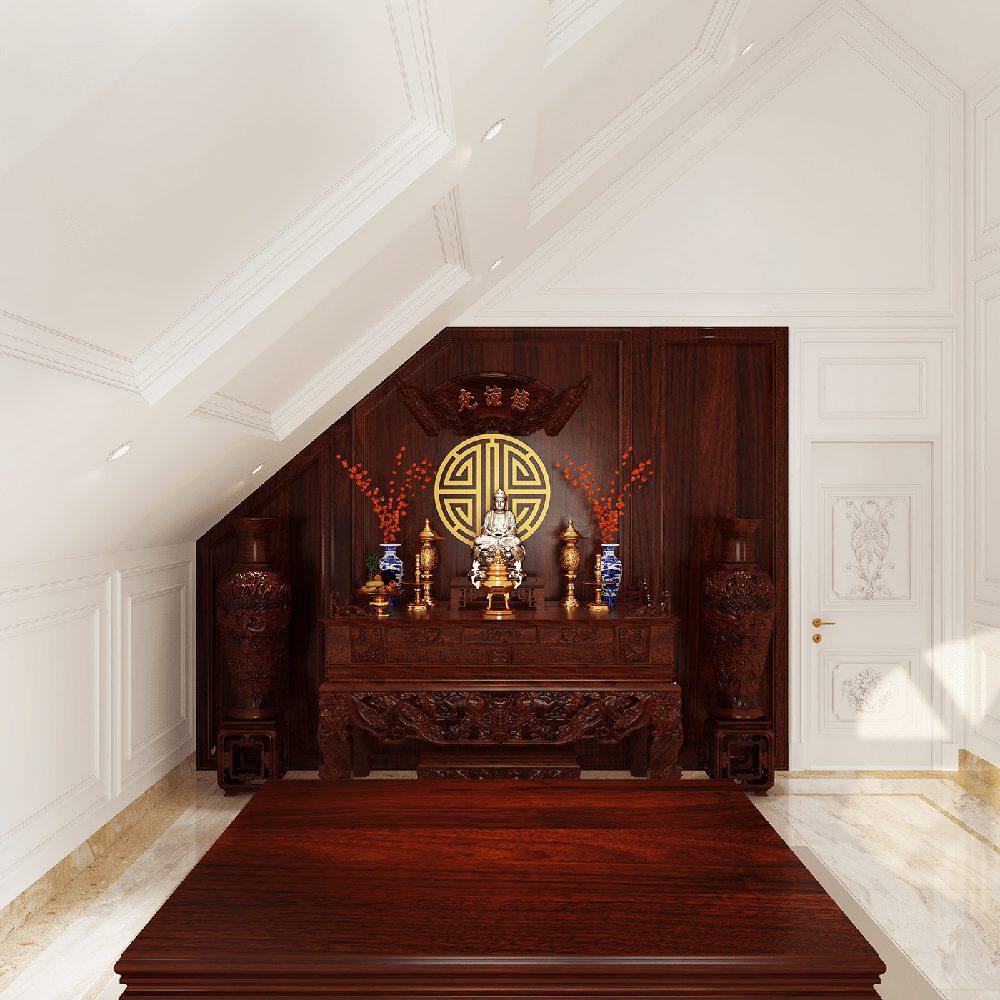 phòng thờ đặt ở tầng gác lửng
