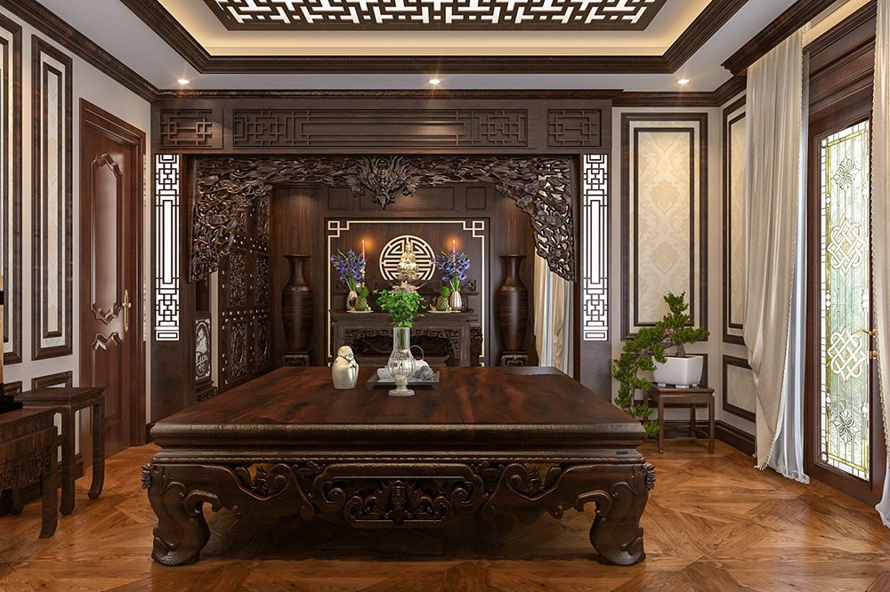 nội thất gỗ gụ sang trọng