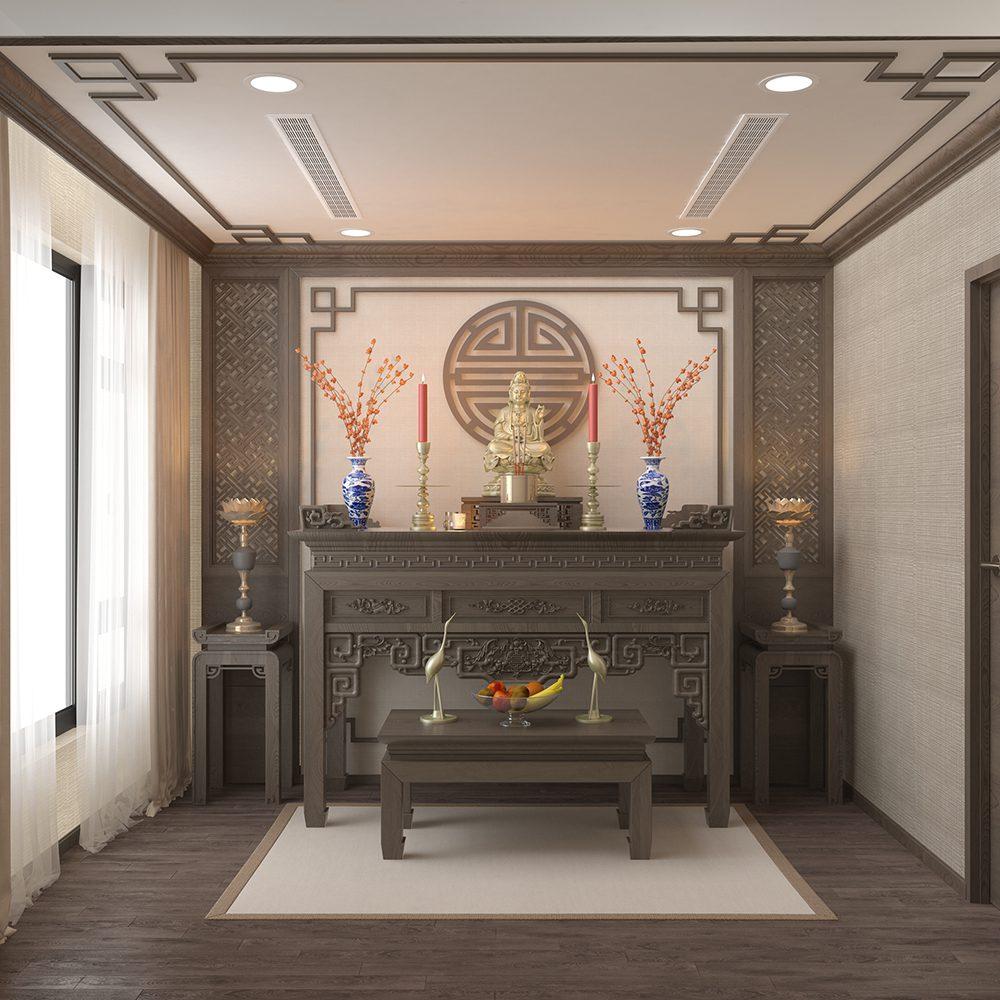 Bộ bàn thờ gỗ tự nhiên cho không gian ấm cúng