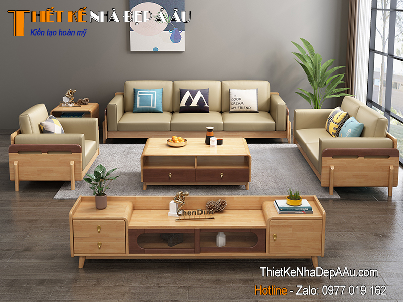 Mẫu sofa gỗ óc chó