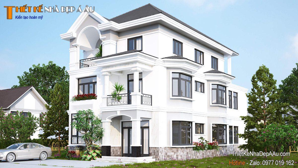 Bản vẽ kiến trúc mẫu biệt thự 3 tầng mái Nhật 140m2