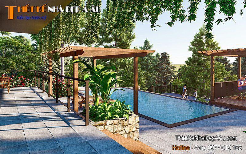 Bể bơi được xây trong khuôn viên nhà