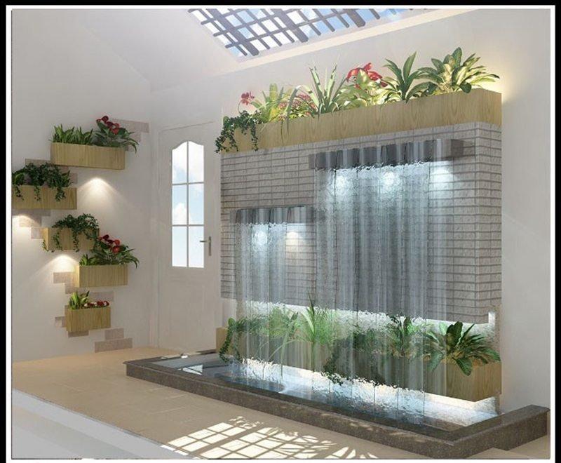 thiết kế tiểu cảnh thác nước trong nhà