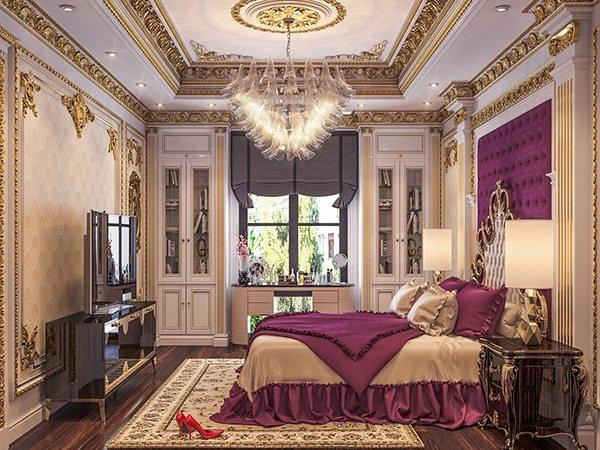 trần thạch cao phòng ngủ tân cổ điển