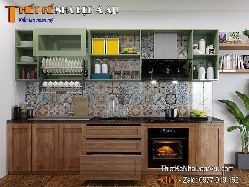 Mẫu tủ bếp gỗ tự nhiên