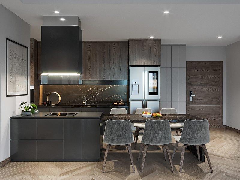Không gian bếp căn hộ chung cư