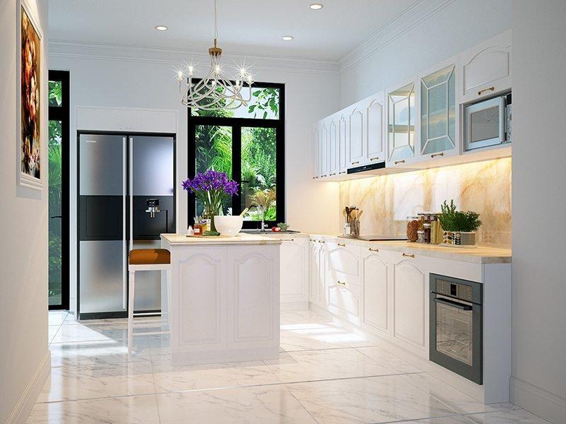 Căn bếp ấm cúng đầy đủ tiện nghi với bộ tủ bếp hiện đại