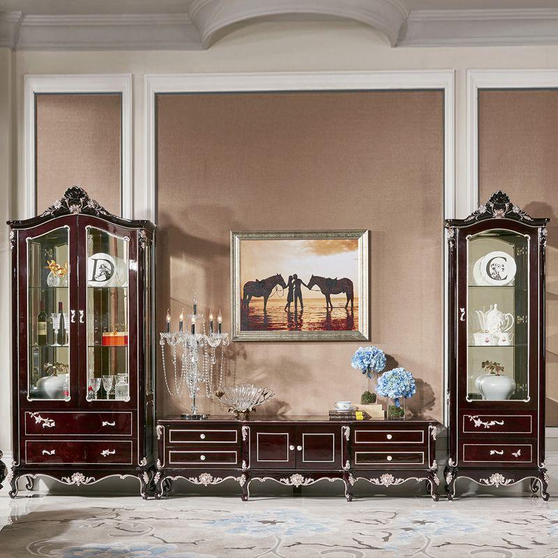 Kệ tivi kết hợp tủ kính trưng bày rượu