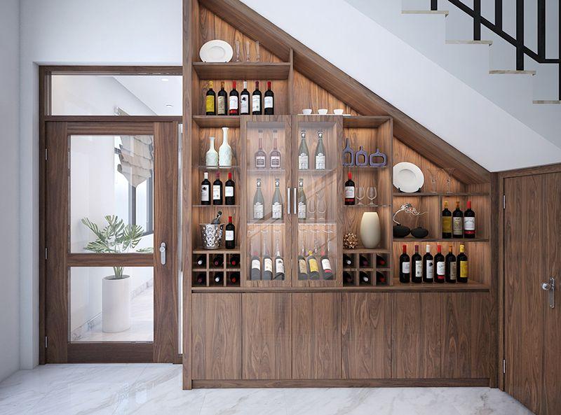 Tủ rượu dưới cầu thang