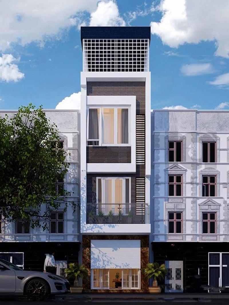 thiết kế nhà phố 4 tầng mặt tiền 3m