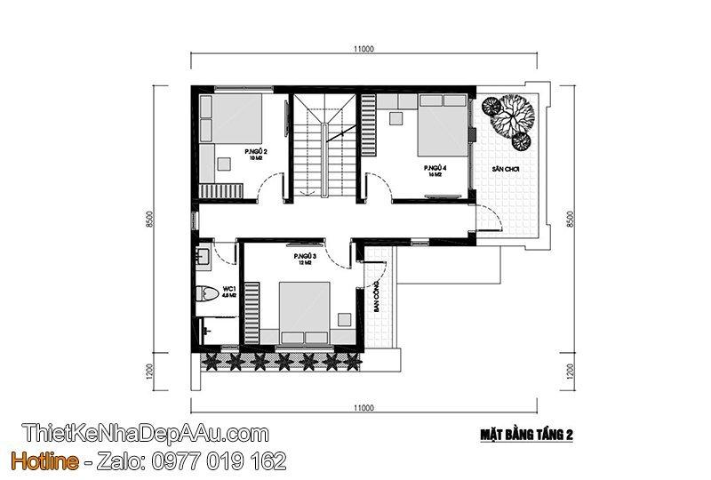 Bản vẽ mặt bằng nhà 3 tầng